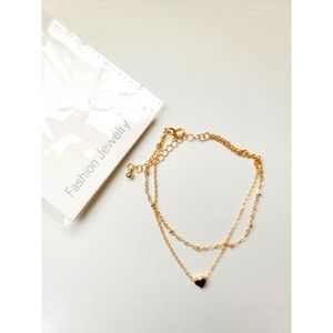 Heart Charm Layered Anklet